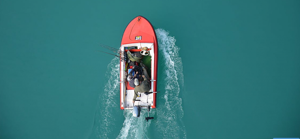 Boat with trolling motor